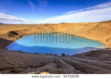 Volcanic crater with the lake inside near Krafla in Northern Iceland