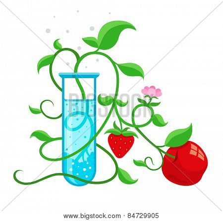 GMO genetically modified foods growing in test-tube. Eps10 vector illustration isolated on white background
