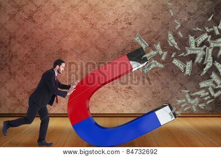 Businessman in suit pushing with hands against grimy room