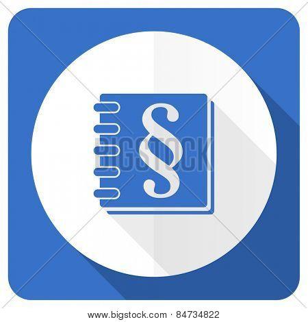 law blue flat icon