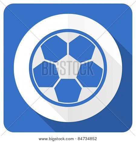 soccer blue flat icon football sign