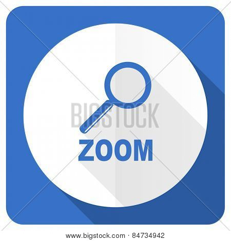 zoom blue flat icon