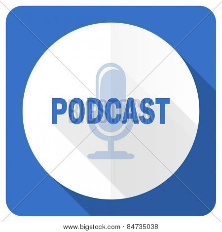 podcast blue flat icon