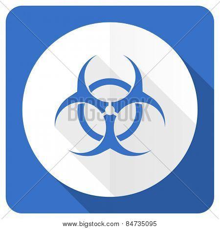 biohazard blue flat icon virus sign