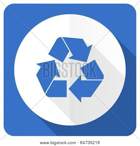 recycle blue flat icon recycling sign