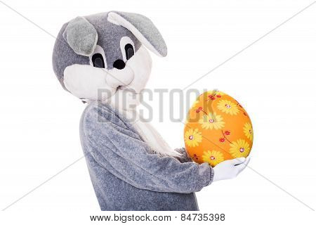 Big gray plush bunny hold Easter egg