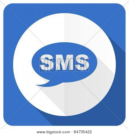 sms blue flat icon message sign