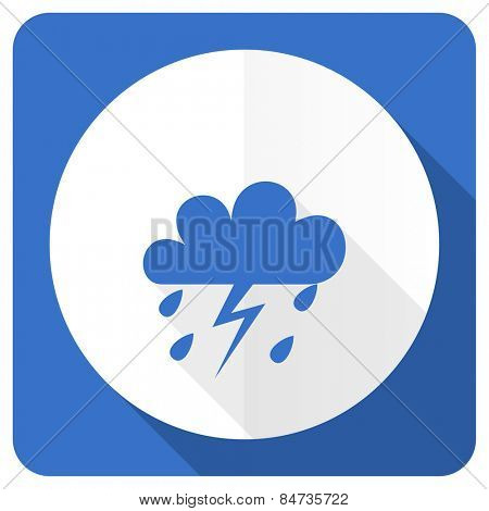 storm blue flat icon waether forecast sign