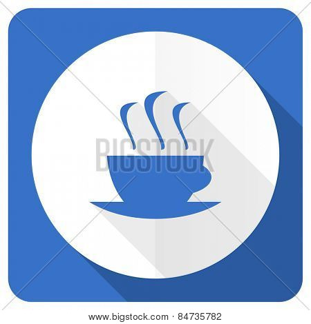 espresso blue flat icon hot cup of caffee sign