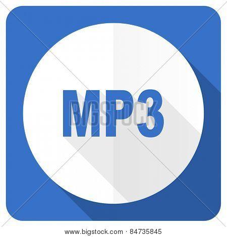 mp3 blue flat icon