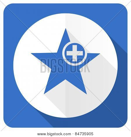 star blue flat icon add favourite sign