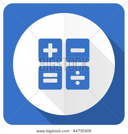 calculator blue flat icon calc sign