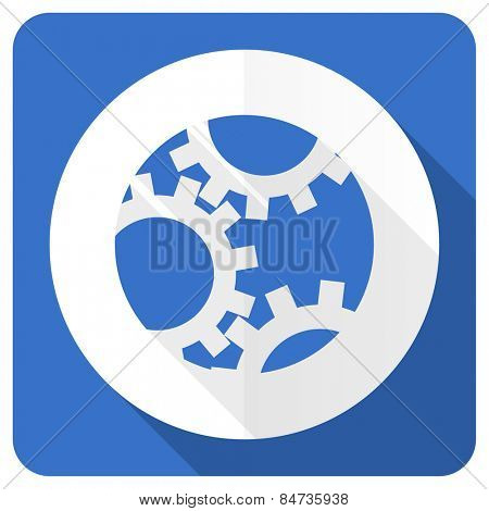 gear blue flat icon settings sign