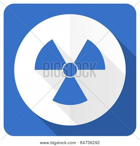 radiation blue flat icon atom sign