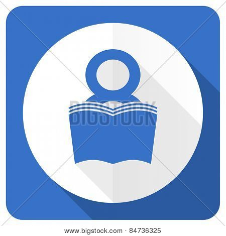 book blue flat icon reading room sign bookshop symbol