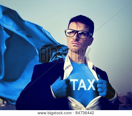 Strong Superhero Businessman TAX Concepts