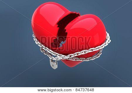 Locked heart against blue