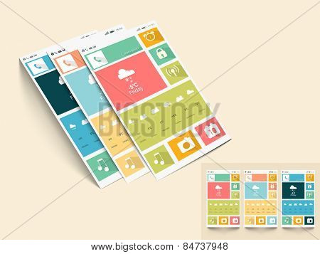 Creative mobile screen presentation with different application and multiple color choice on beige background.