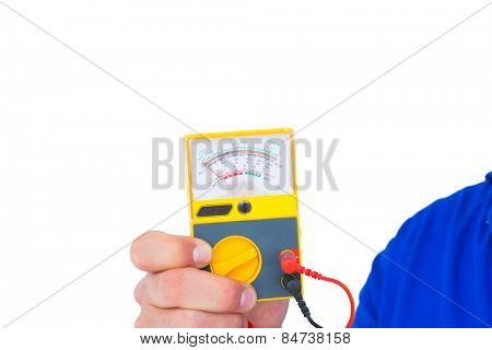 Cropped image of electrician holding voltage tester over white background
