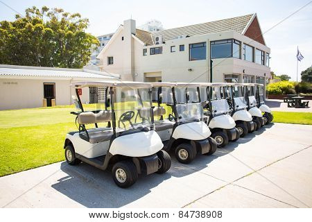 Golf buggy at the golf course parking