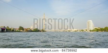 Bangkok, Thailand: Rama VIII suspension bridge, Chao Praya River