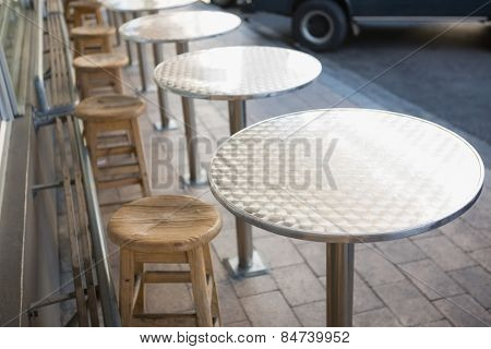Stylish bar stool with table at the bakery