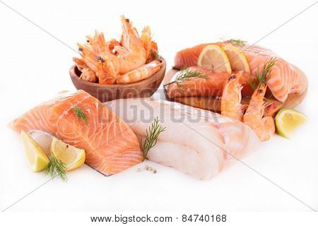 raw fish,shrimp,salmon isolated