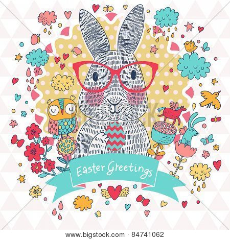 Stunning Easter card in vector. Cute rabbit in glasses with holiday egg in cartoon funny elements  - clouds, hearts, horse, owl, birds and butterflies