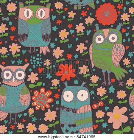 Cute cartoon owls. Seamless pattern can be used for wallpapers, pattern fills, web page backgrounds, surface textures. Cute vector wallpaper