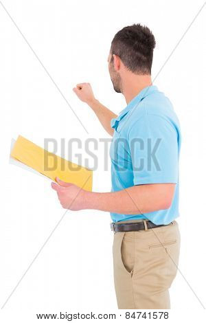 Postman with letter knocking on white background