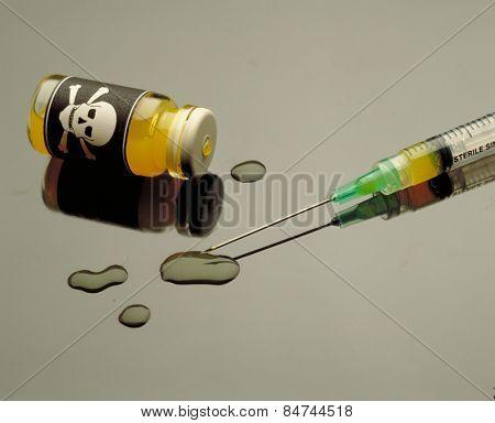 poison and plastic syringe. Toxic ampule.
