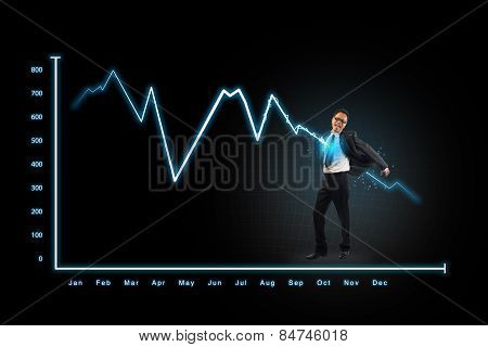 Lightning Graph Attack Businessman,concepts For Business, Finance, Stock Market And Financial Market