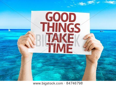 Good Things Take Time card with beach background