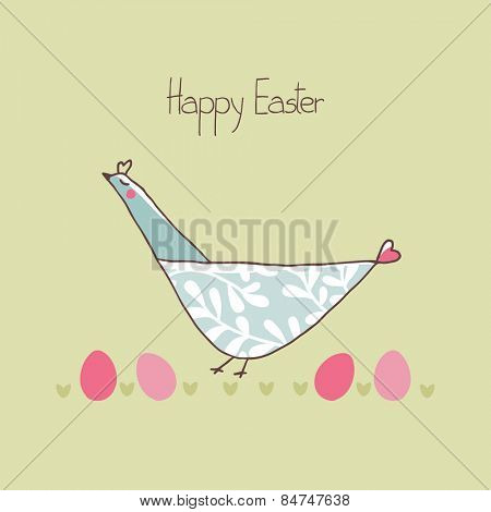 easter card with chicken on green background