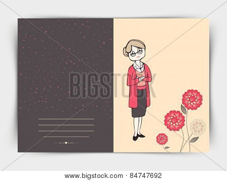 International Women's Day celebration post card design decorated with flowers on grey background.