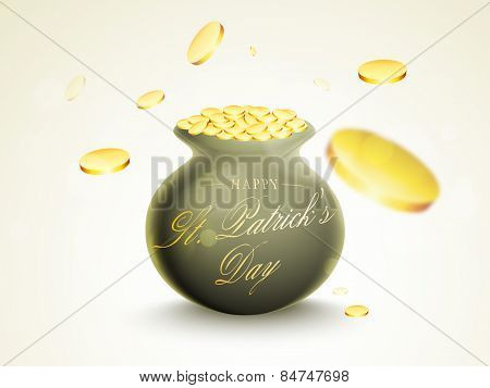 Glossy earthenware full of gold coins for Happy St. Patrick's Day celebration.