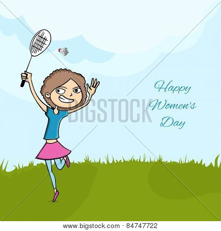 Young girl playing badminton on nature view background for International Women's Day celebration.