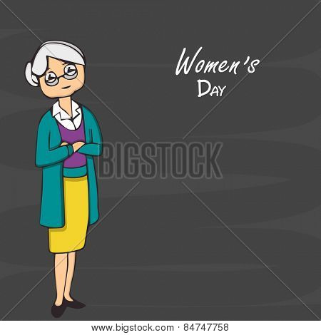 International Women's Day celebration with an old lady in pose of cross hands on black background.