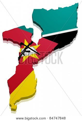 detailed illustration of a map of Mozambique with flag, eps10 vector