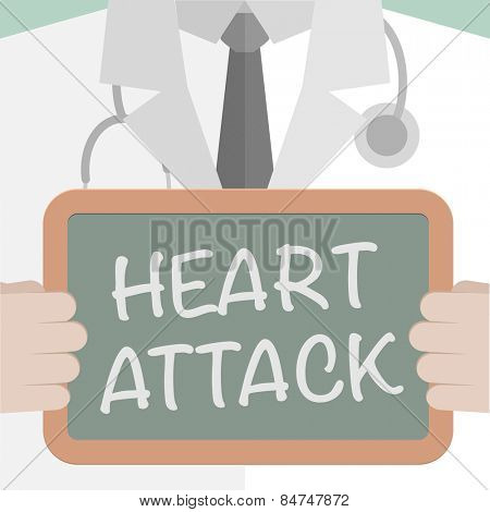minimalistic illustration of a doctor holding a blackboard with Heart Attack text, eps10 vector