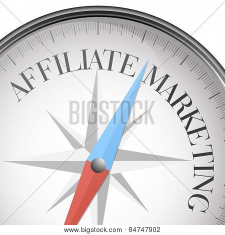 detailed illustration of a compass with affiliate Marketing text, eps10 vector