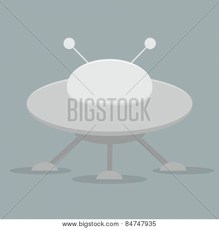 minimalistic illustration of a flying saucer, eps10 vector