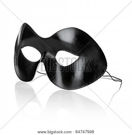 Black eye mask isolated on white with natural reflection.