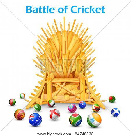 illustration of cricket bat throne with different participating countries