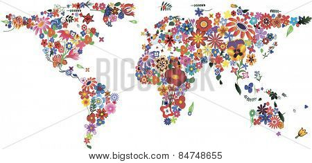 World map made of plenty colorful flowers