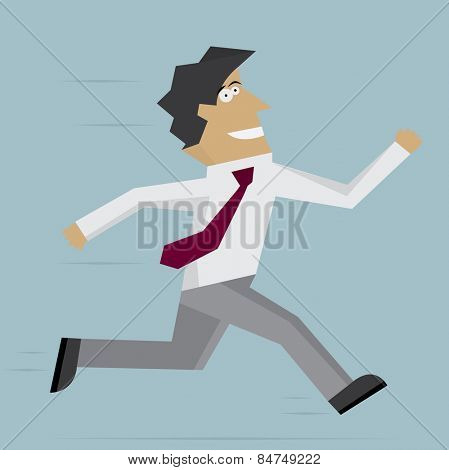 Businessman run forward. illustration. Flat design