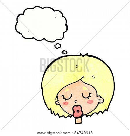 cartoon woman with eyes closed with thought bubble