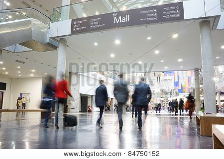 VALENCIA, SPAIN - FEBRUARY 11, 2015: Business people at the Feria Valencia Convention Center for the CEVISAMA 2015 Habitat Trade Fair.