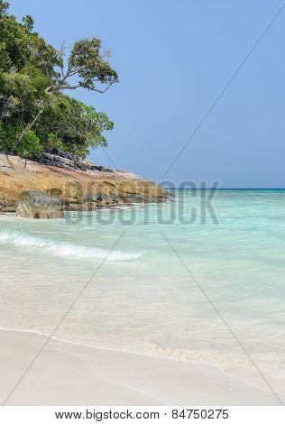 White Sand Beach Of Tropical Crystal Clear Water At Tachai Island, Thailand