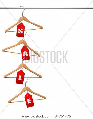 Coat Hangers On A Clothes Rail. Discount Promotion Concept. Vector